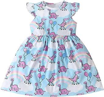 Infant Toddler Baby Girl Dinosaur Dress Summer Casual Sleeveless Dress Baby Girl Princess Party Tunic Dress