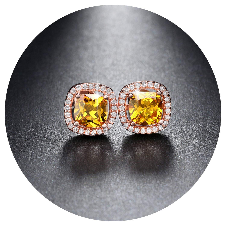 1ct Cushion Cut Multi Color CZ Crystal Stud Earrings for Girls Fashion Nickel Jewelry9