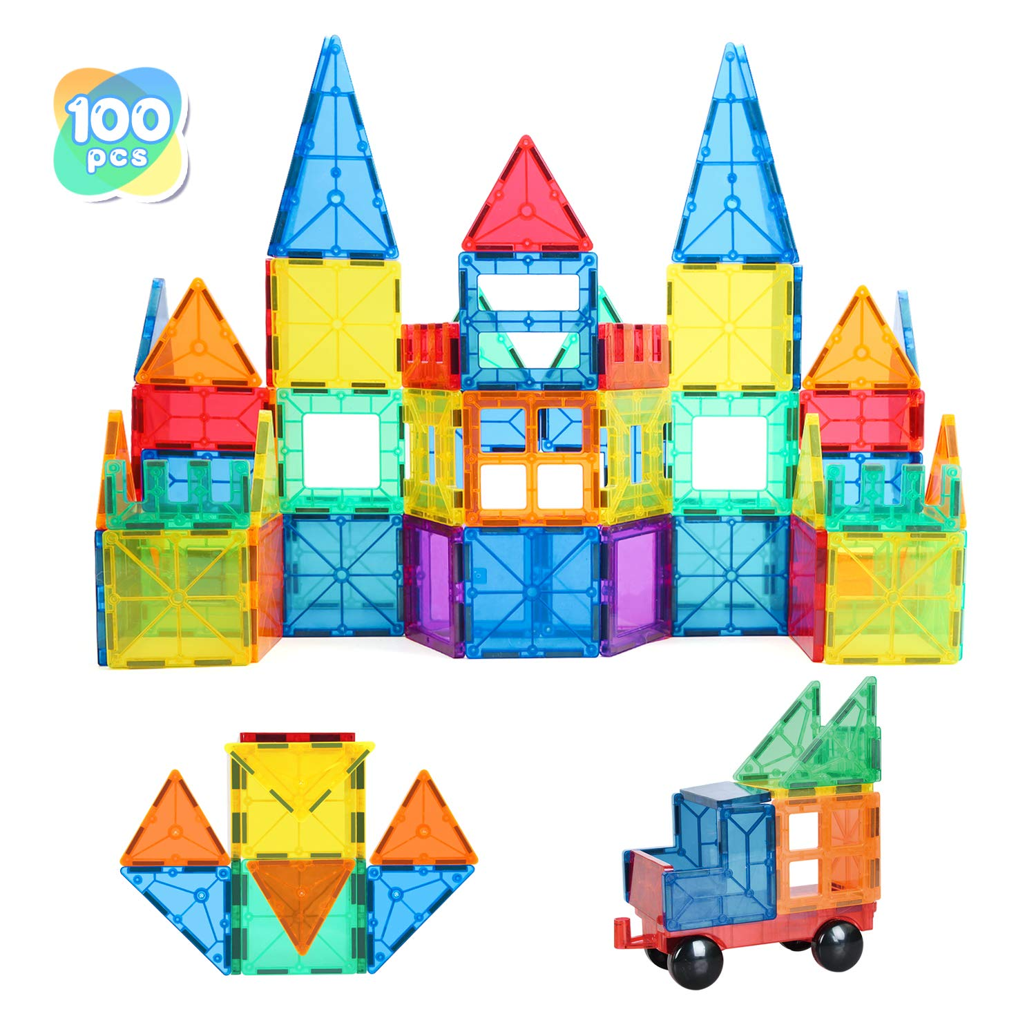 VegCow 100pcs Magnetic Tiles Set - 3D Magnet Building Blocks, Educational Construction Toys for Kids – Super Durable with Strong Magnets and Superior Color by VegCow (Image #1)