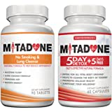 Mitadone No Smoking & Lung Cleanse 2 in 1 Anti Smoking Pills Curbs Nicotine Addiction Cleanses Respiratory System Helps Quit Smoking Controls Cravings Symptoms Nicotine Free 5+5 Day Detox(150 Count)