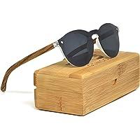 Lunettes de soleil rondes en bois de zèbre pour les femmes et les hommes avec lentille spéciale d'une seule pièce noire polarisée