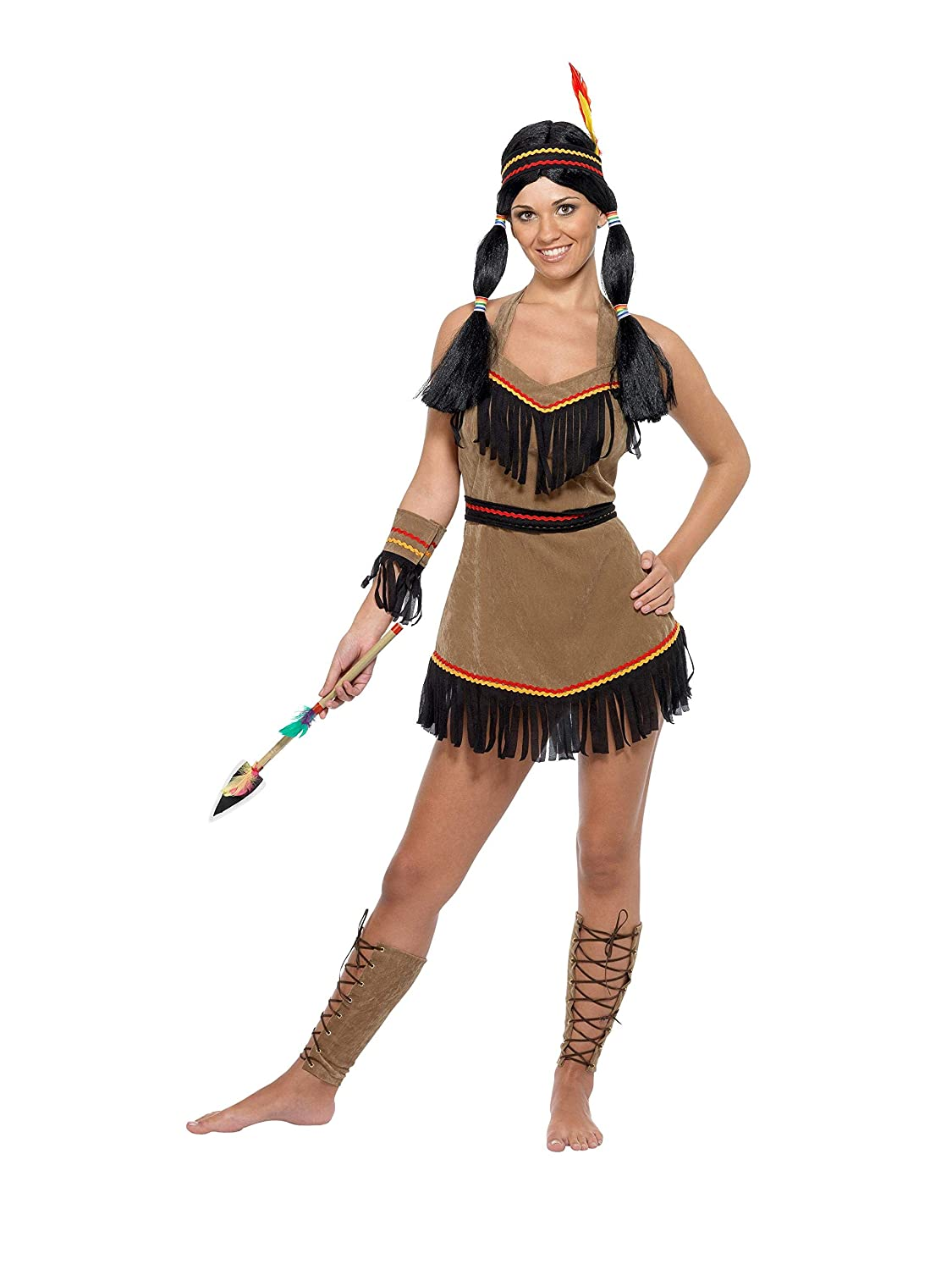 fceee4f22b8 Smiffy's Women's Native American Indian Costume, Dress, Belt, Headband,  Armband and Leg Cuffs, Size: S, Colour: Brown, 31882
