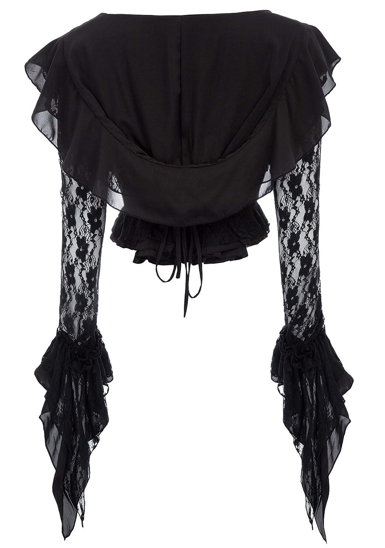 8e5cf2bb7f Amazon.com  Women Vintage Steampunk Gothic Ruffled Hooded Tops Black Lace  Coat  Clothing