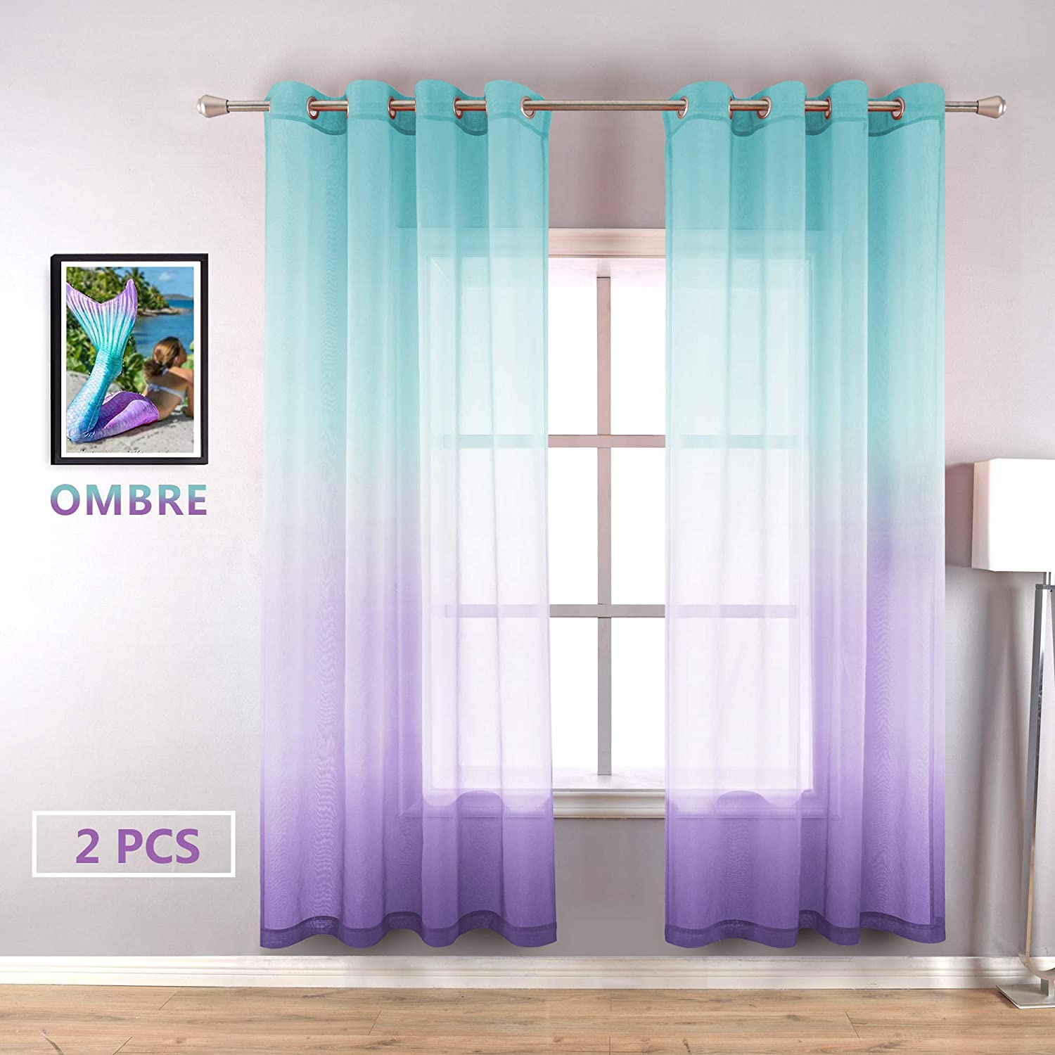 Sheer Curtains for Bedroom 2 Panels Grommet Ombre Sky Sea Decor Nautical Decoration Beachy Themed Window Curtains for Patio Dining Living Girls Kids Nursery Babies Room 72 Inch Length Lilac Turquoise