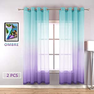 Lilac Turquoise Curtains for Bedroom Girls Room Decor 2 Panels Beautiful Elegance Ombre Window Sheer Grommet Curtains for Girls Mermaid Gift Party Birthday Decoration Green Purple 52 x 84 Inch Length