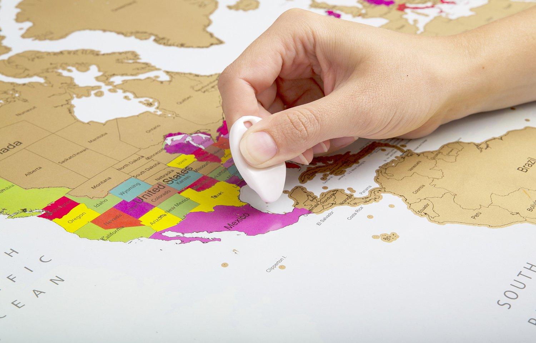 Mapa mundi para rascar | Colores vibrantes y textos en negrita | Mapa mundi rascar |Regalo para viajeros | Edición deluxe 60 cm (alto) x 90 cm (ancho) ...