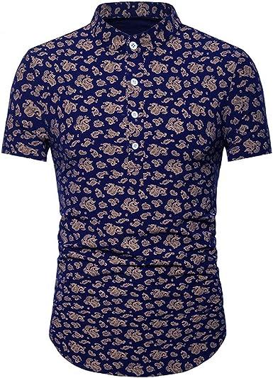 Moda para Hombre Estampado De Verano Camisa Slim Fit Camisas De Manga Corta Formales Casual Tops: Amazon.es: Ropa y accesorios