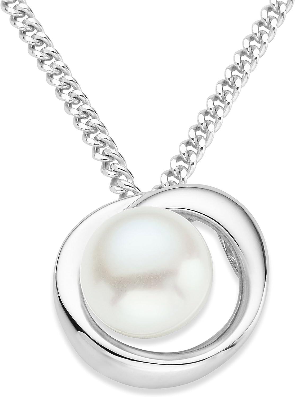 MIORE Colgante de Perlas de Plata de Ley con Perla para Mujer