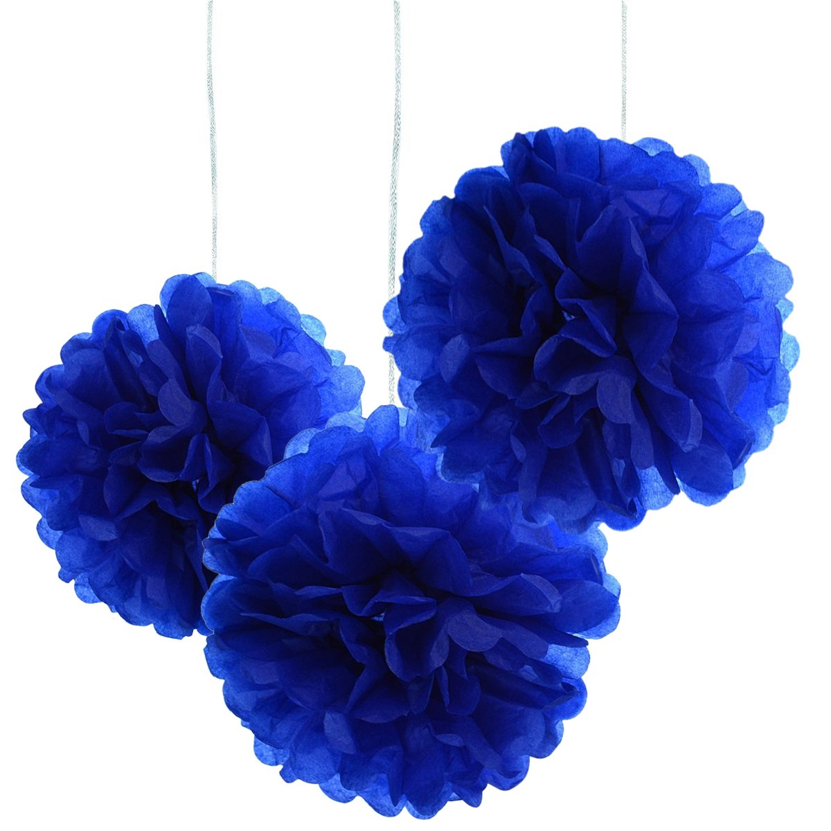 10pcs Royal Blue Tissue Hanging Paper Pom-poms, Hmxpls Flower Ball Wedding Party Outdoor Decoration Premium Tissue Paper Pom Pom Flowers Craft Kit, 10 Inch 4336867302