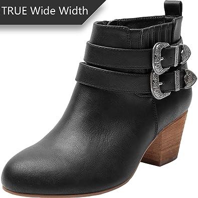 2e2ffe2a9c7 Luoika Women s Wide Width Ankle Boots - Side Zipper Metal Flower Buckle  Strap Mid Chunky Block