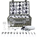 Charles Bentley 4 Person Grey Willow Wicker Picnic Basket Hamper Set - Checkered Lining