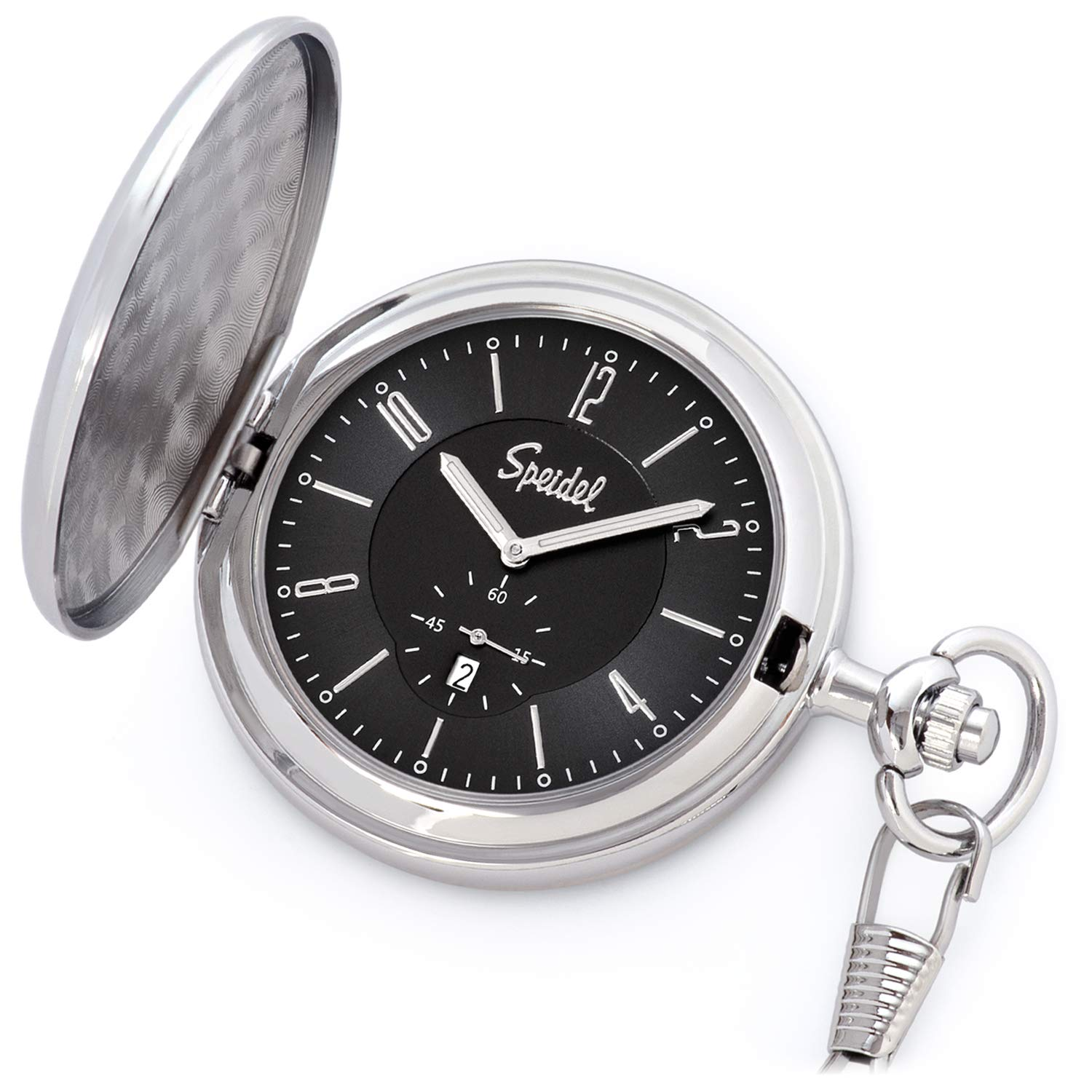 Speidel Classic Brushed Satin Silver-Tone Engravable Pocket Watch with 14'' Chain, Black Dial, Date Window, Seconds Sub-Dial and Luminous Hands