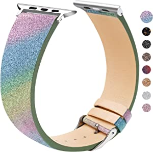 EurCross Watch Band Compatible with Apple Watch 42mm 44mm Shiny Strap Replacement Wristband for Women Glitter Bands Compatible with iWatch Series 5/4/3/2/1 (Rainbow 42mm/44mm)