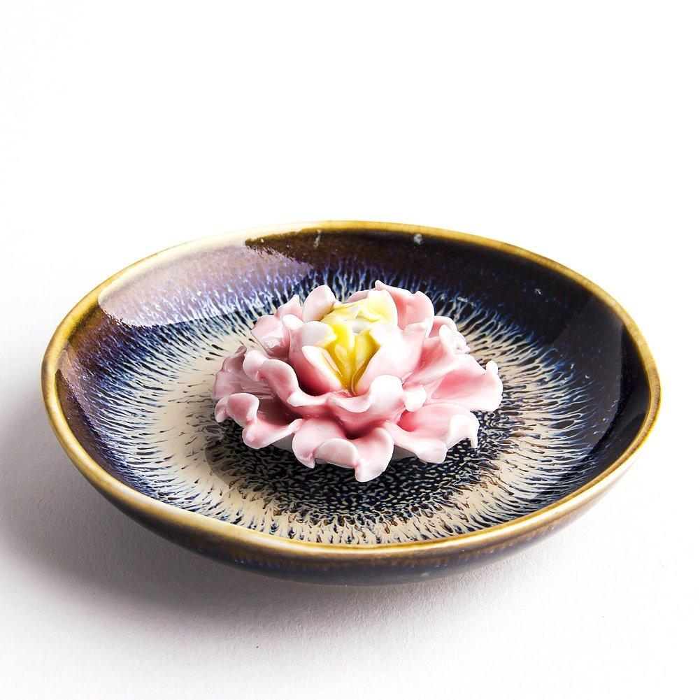 Artcer Ceramic Handmade Lotus Incense Holder Ash Catcher Plate, Black Generic