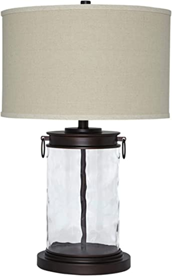 Signature Design By Ashley Tailynn Glass Table Lamp Smoky Glass Black Accents Clear