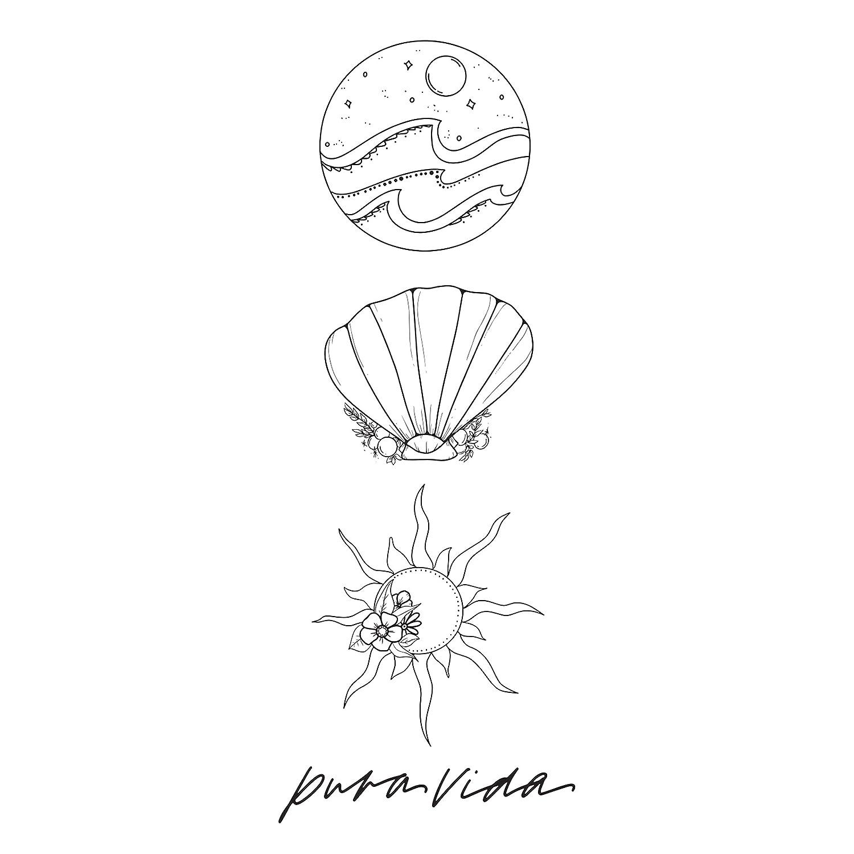 Pura Vida Waves Temporary Tattoo Set – Instructions Included – Pack of 3