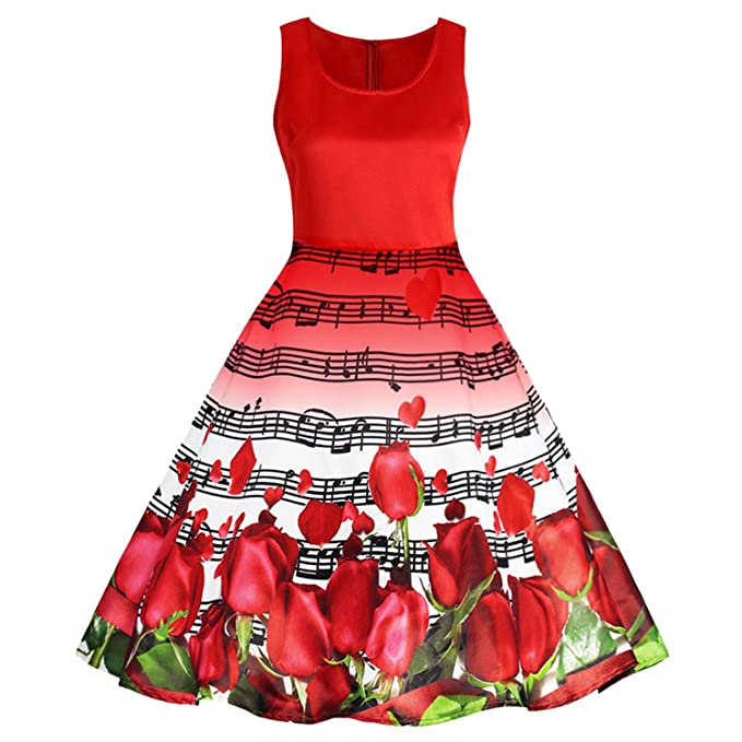 FANGZHENG Vintage Dress Women Musical Notes Roses Print Dress Retro Valentines Day Pin Up Party Dresses