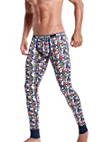 SEOBEAN Mens Low-Rise Underwear Pants Long John Cotton