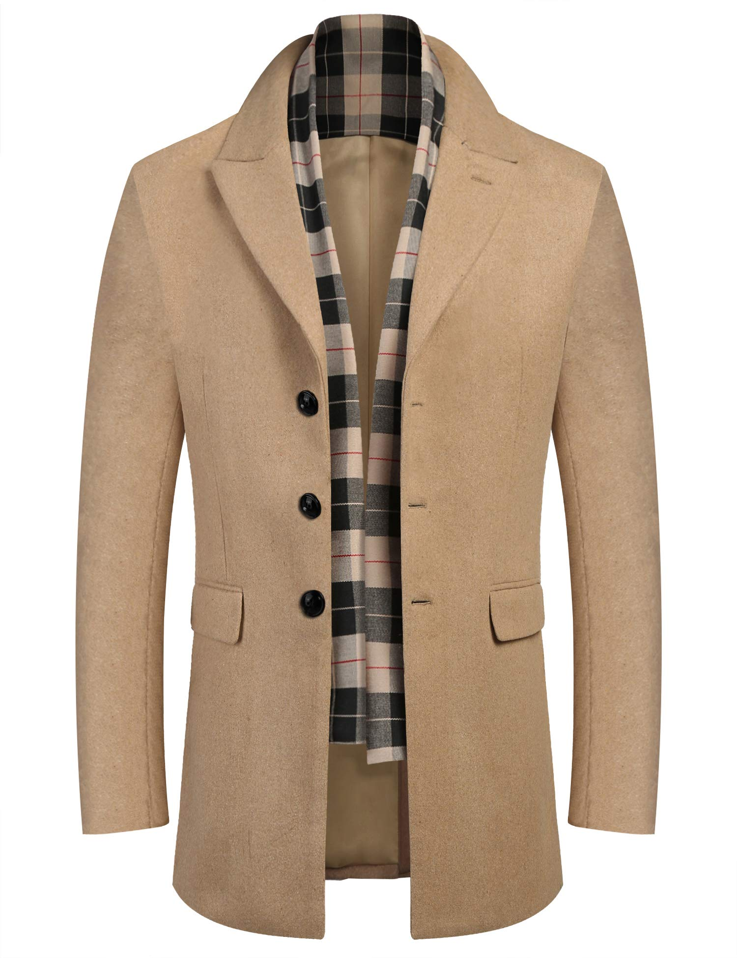 COOFANDY Men Woolen Dress Coats Winter Wool Jacket & Coat with Removable Plaid Wool Scarf (Khaki M) by COOFANDY