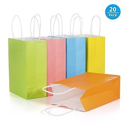 Comius Bolsas Regalo, 20 Pcs 21*15*8cm Bolsas Papel Kraft Multicolor con Asas para Regalos Navidad Fiesta Compras Alimentos 5 Colores