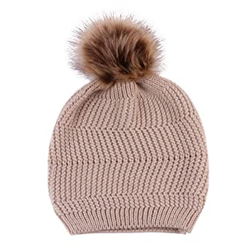 bb8491c1a42 Amazon.com  Women s Pompom Knit Hat