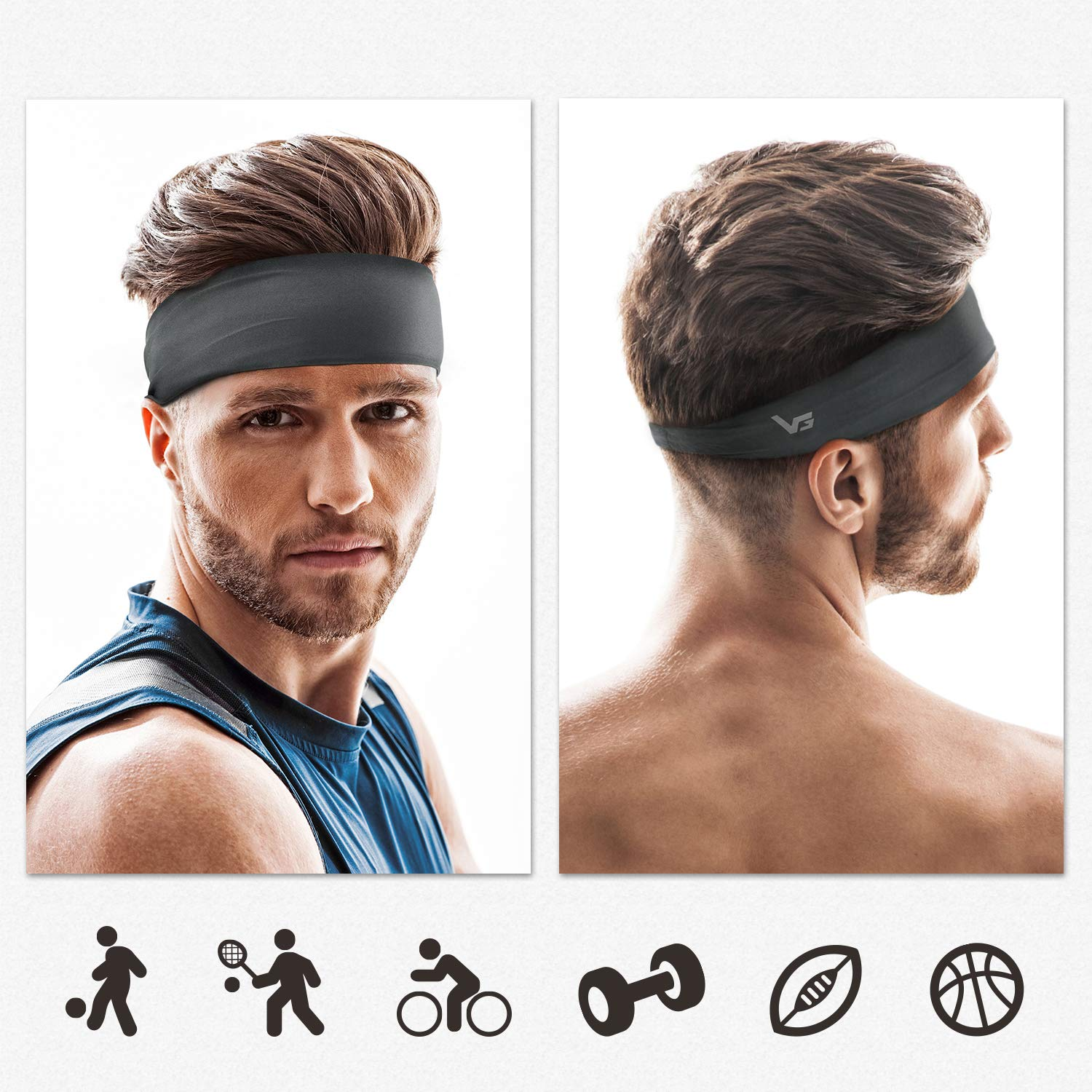 - Non Slip Lightweight Sweat Band Moisture Wicking Workout Sweatbands for Running Cross Training Vinsguir Sports Headbands for Men and Women 4 Pack Unisex Hairband Yoga and Bike