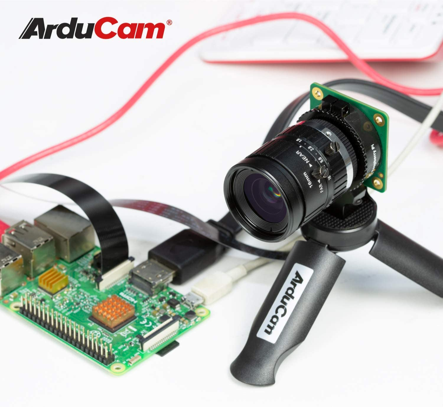 16mm Focal Length Telephoto C Lens with Portable Tripod Stand and 2ft//60cm Black Camera Cable Arducam C-Mount Lens Bundle for Raspberry Pi HQ Camera