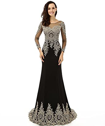 LiCheng Bridal Womens Appliques Rhinestones Mermaid Long Sleeve Evening Dress Black US2