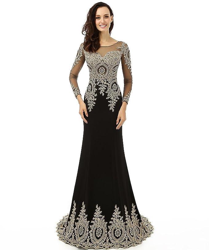 Amazon.com: Licheng Bridal Appliques Beading Long Sleeve Floor ...