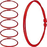 6 Pieces Red Bracelet Red Cord Bracelet Adjustable Kabbalah Red Knot String Bracelet Amulet for Protection, Evil Eye and…