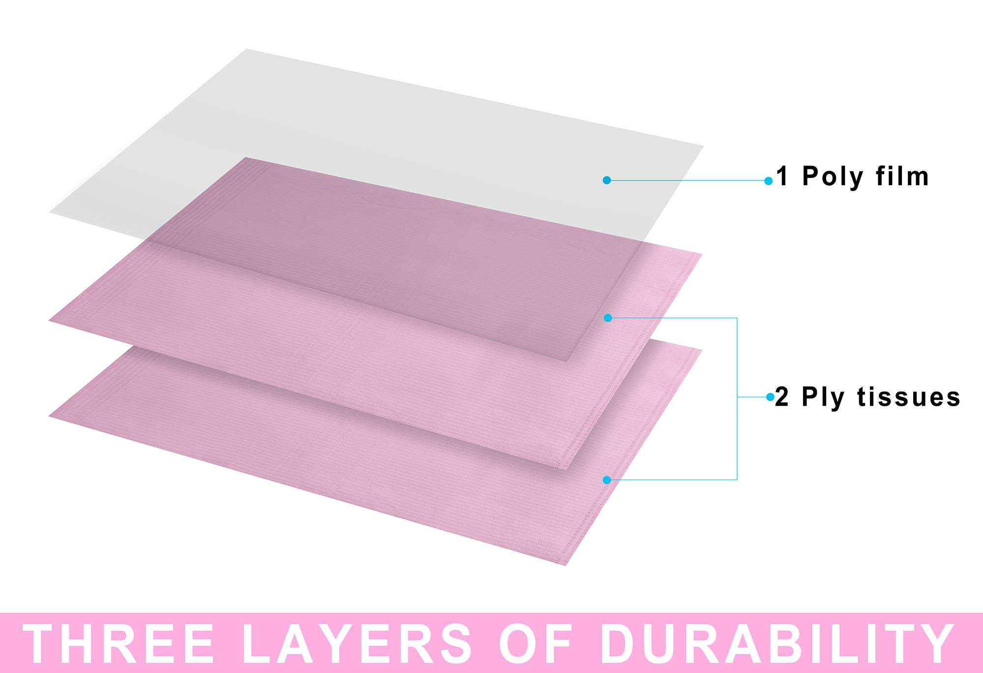 """(Pack of 500) Dental Bib 13"""" X 18"""" 3-Ply Pink Premium Disposable Waterproof Patient Bibs /2 Ply Tissue + 1 Ply Poly/Polyback Sheet; Waterproof Tattoo Bibs, Tattoo Tray Covers and Dental Napkins by JJ CARE (Image #2)"""
