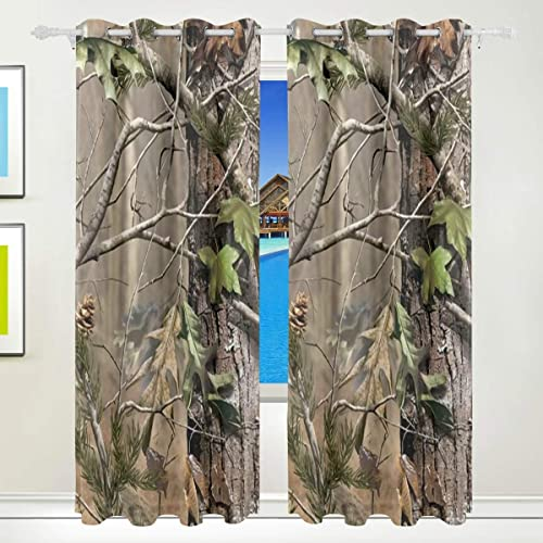 Jojogood Jojogood Camouflage Real Tree Background Blackout Curtains Darkening Thermal Insulated Grommet Top Bedroom Living Room Window Panels Curtain 55x84Inch