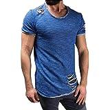 NINGSUN T-Shirt Uomo Fori Maniche Corte Irregolari Collare Tops Casual Moda Camicia a Manica Corta da Uomo a Collo Alto Cotone Comodo Pullover Maglietta del Foro di Modo degli Uomini