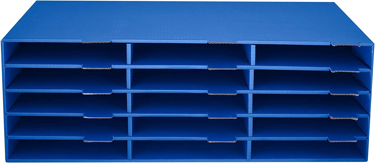 "AdirOffice Construction Paper Storage Bin 9½"" x 29"" - 15 Slot Vertical File Compartment - Organizer for Home & Office - Blue"