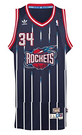 863115f475b2 Hakeem Olajuwon Houston Rockets Adidas NBA Throwback Swingman Jersey - Blue   Amazon.co.uk  Clothing