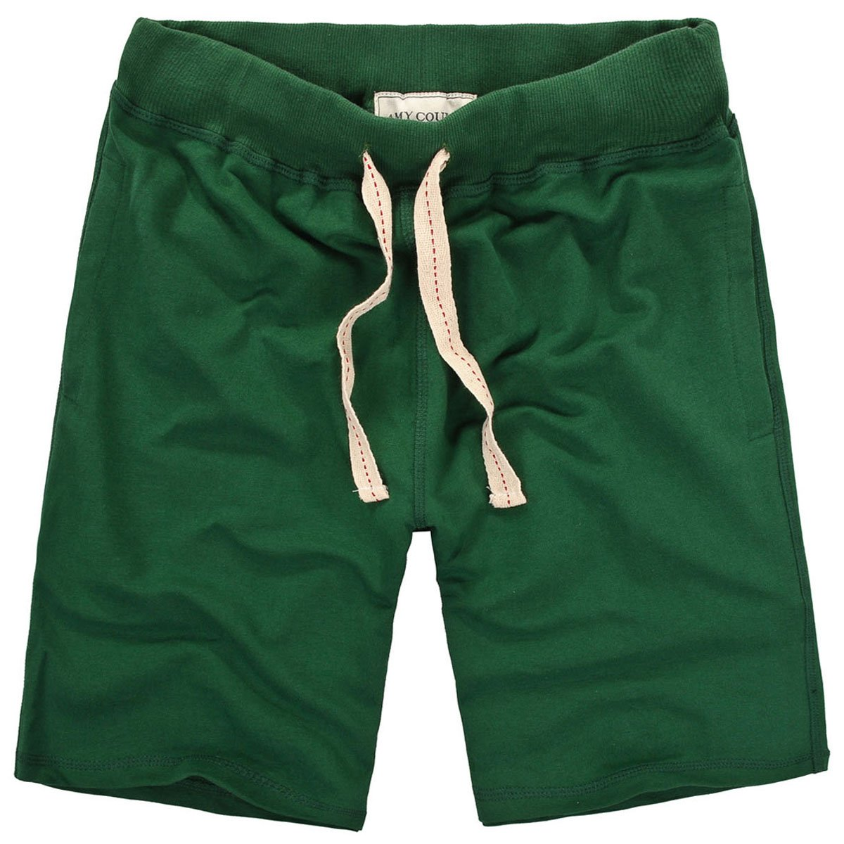 Amy Coulee Men's Causal Cotton Elastic Waistband Shorts With Pockets (XL, green)