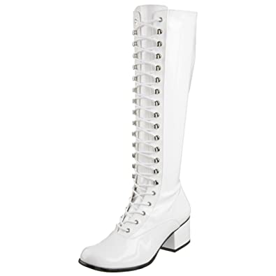 Summitfashions Womens Glossy White Patent Lace Up Knee High Boots with 2  Inch Block Heels Size 3f3464023