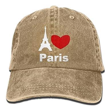 1e289452e44 Unisex I Love Paris Yarn-Dyed Denim Baseball Cap Glacier Cap for Men Women