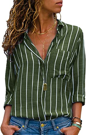 Womens Casual Striped Sweater Long Sleeve V Neck Shirt Patchwork Button Down Blouse