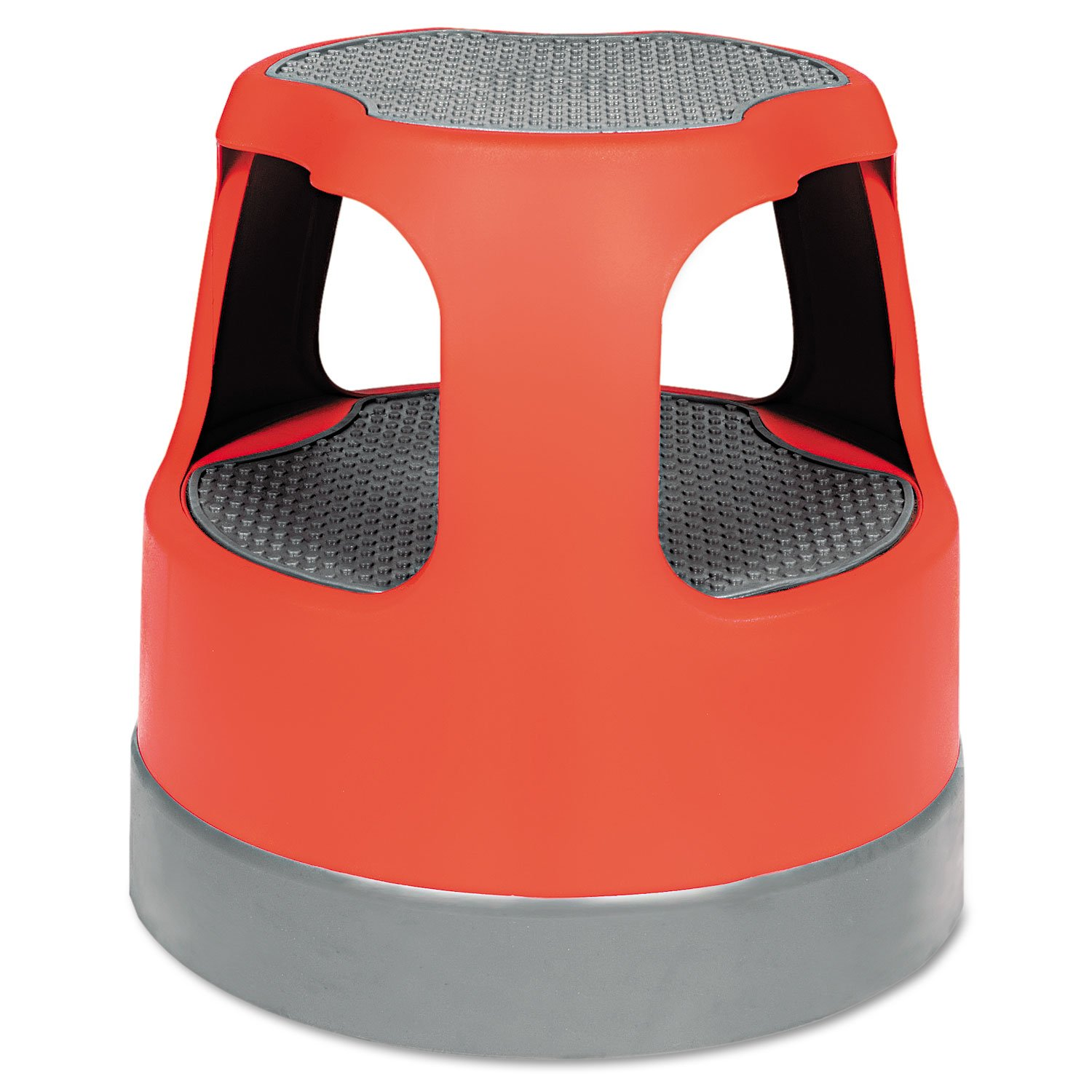 Scooter Stool Round, 15'', Step & Lock Wheels, to 300 lbs, Red by Cramer