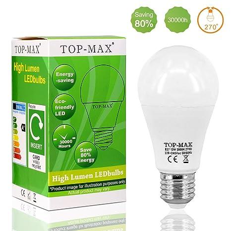 1 pieza E27 12 W bola LED bombilla 3000 K blanco cálido Lámpara Ahorro De Energía ...