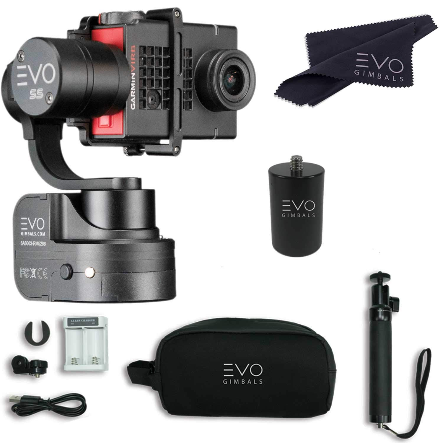 EVO SS 3 Axis Wearable Gimbal - Stabilizer for GoPro Hero4, Hero5, Hero6 Black, Yi 4K, Garmin Virb Ultra 30 - Bundle Includes - EVO SS Gimbal, EVO PA-100 Painter's Pole Adapter (2 Items) by EVO Gimbals