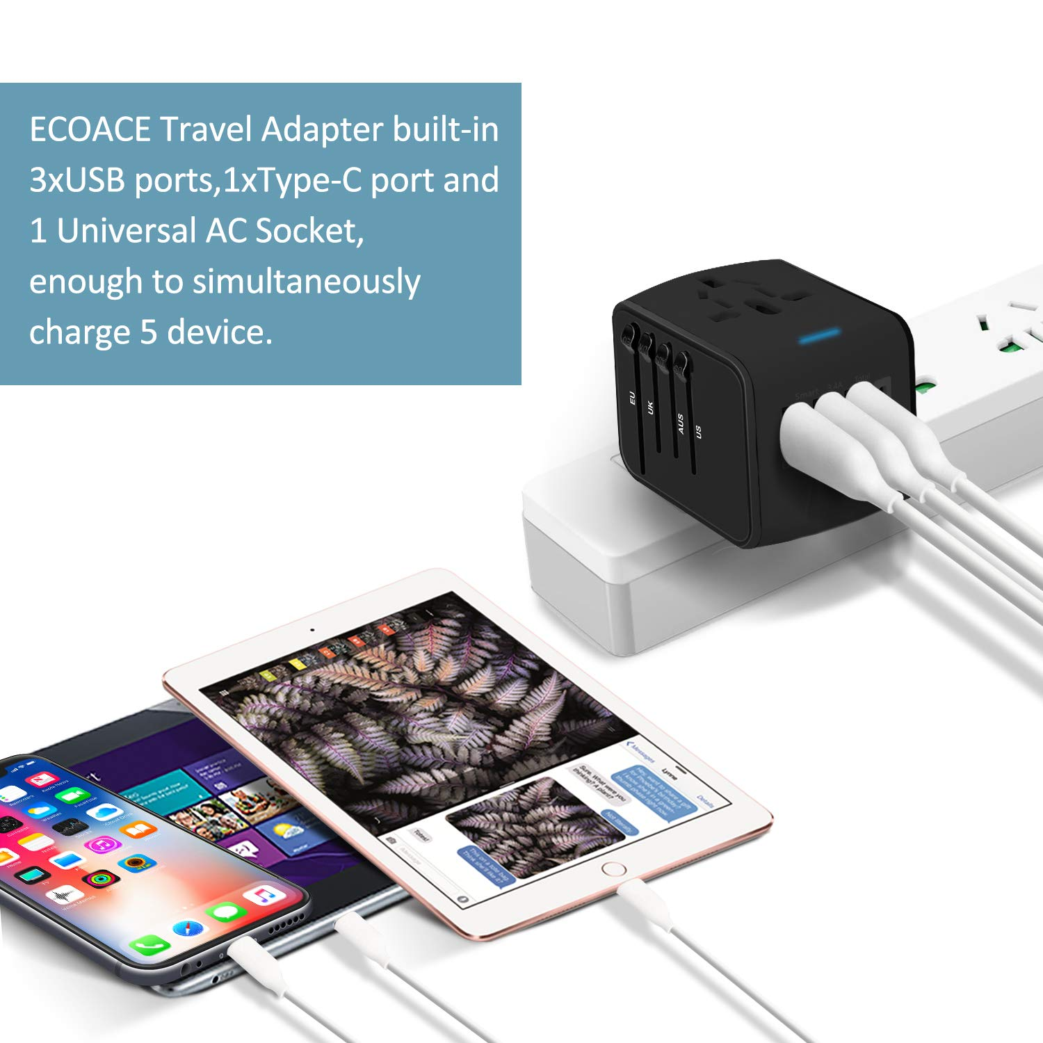 Asia over 150+Countries- ECOACE Universal Travel Adapter All-in-one International Power Adapter with 3.4A 3 USB SL-199-3u-T USB-C//Type-C European Adapter Travel Power Adapter Wall Charger for UK Black EU AU