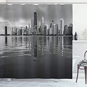 Ambesonne Chicago Skyline Shower Curtain, Nostalgic Weathered Lake Michigan Harbor Coastal Town Urban Vintage, Cloth Fabric Bathroom Decor Set with Hooks, 84