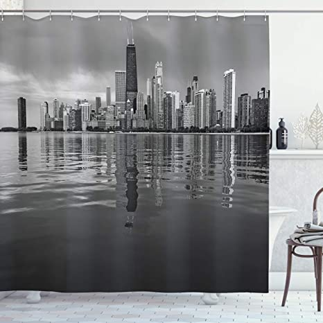 Amazon Com Ambesonne Chicago Skyline Shower Curtain Nostalgic Weathered Lake Michigan Harbor Coastal Town Urban Vintage Cloth Fabric Bathroom Decor Set With Hooks 70 Long Black And White Home Kitchen