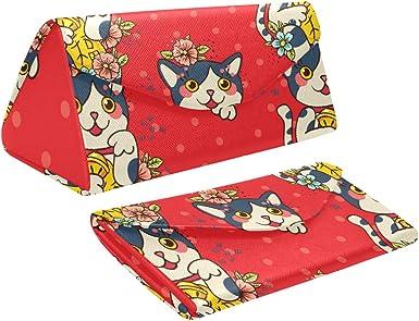 Estuche rígido de anteojos plegable para hombres Maneki Neko Lucky Fortunate Welcome Cat Triangle Estuche de gafas de sol de cuero Pu Cuero con cierre de imán Estuche de anteojos para hombre: