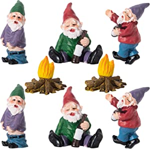8pcs Miniature Resin Garden Gnomes- Mini Drunk Gnome Figurines with Bonfire Naughty Dwarf Elf Statues Funny Fairy Garden Accessories Gnome Lover Gift Camping Gnome Kit for Decorate Lawn Patio Yard