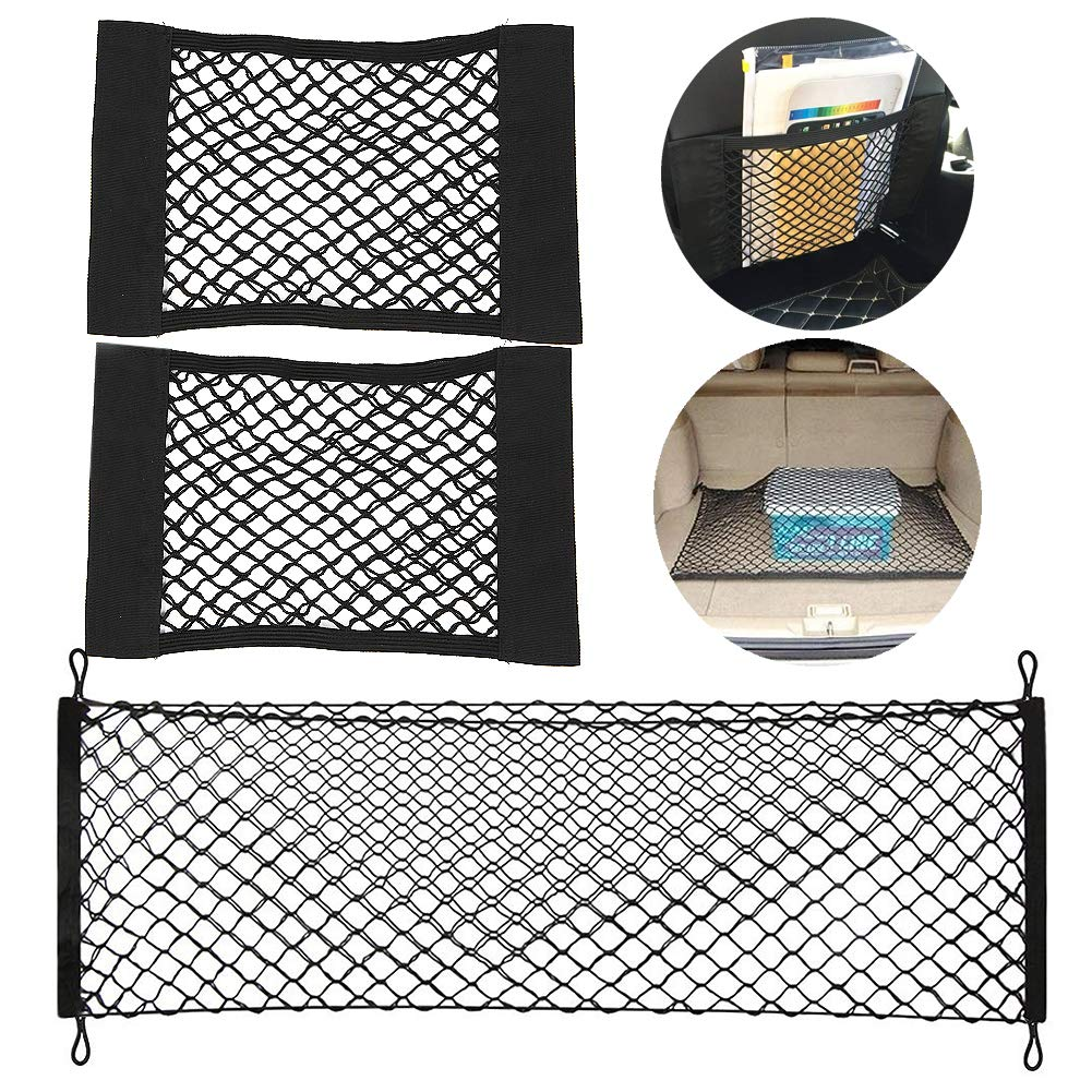 2 Piece of Car Trunk Box Storage Bag Mesh Net Bag 4025CM Car Styling Luggage Holder Pocket Sticker Trunk Organizer and 1 Piece of 11060CM Nylon Elastic Mesh Fixed Net with 4 Plastic Hooks