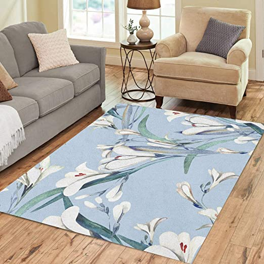 Tulip Flower Green Leaf Watercolor Rug Warm Carpet Bedroom Bathroom Mat Doormat