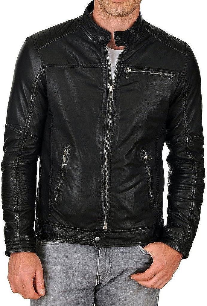New York Leather Mens New Range Bomber Biker Jacket